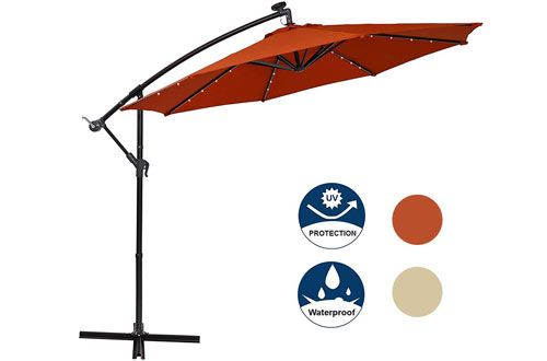 1 Mf Studio Offset Cantilever 10ft Solar Led Hanging Outdoor Umbrella Cantilever Umbrella Umbrella Outdoor Umbrella