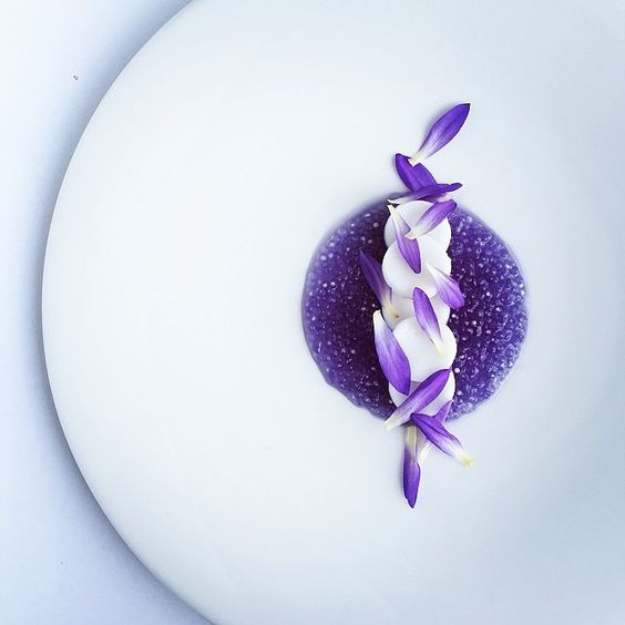 Sago (starch from palm stems) in butterfly pea and coconut water with coconut and lotus petals by @royalebrat #TheArtOfPlating