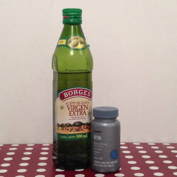 Aceite de oliva extra virgen+biotina, excelente combinación para un cabello hermoso