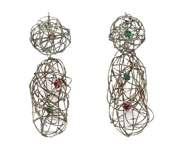 Jürgen Eickhoff Earrings: Untitled, 2015 935 silver, synthetic stones: