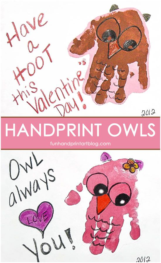 Sweet Handprint Valentine S Day Owl Cards With Fun Owl Sayings Preschool Valentines February Crafts Valentine Crafts For Kids