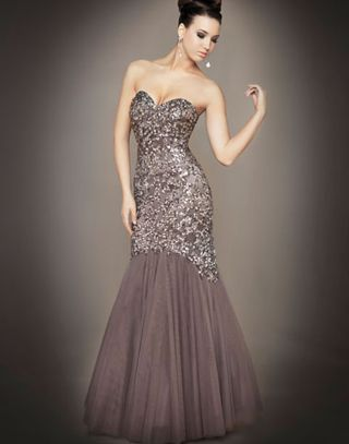 Strap Couture Gown in Platinum Peacock Nude Tobacco - Mac Duggal