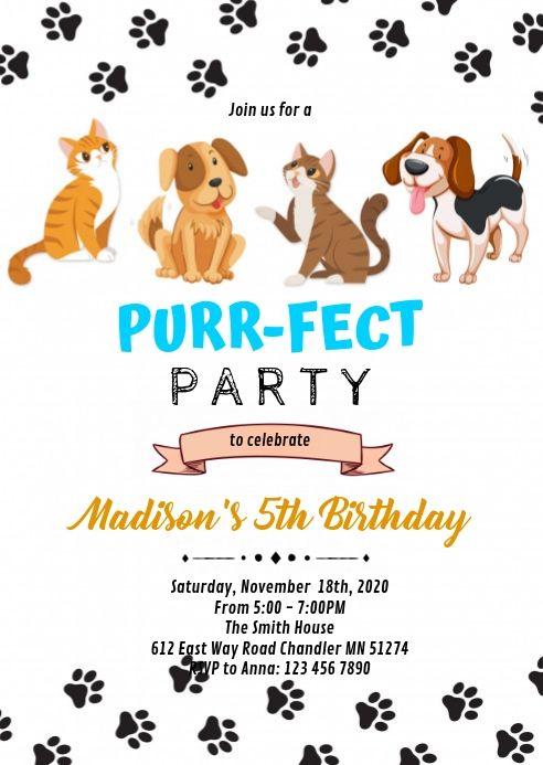 Cat Dog Pet Birthday Invitation Cat Birthday Invitations Dog Birthday Invitations Animal Birthday