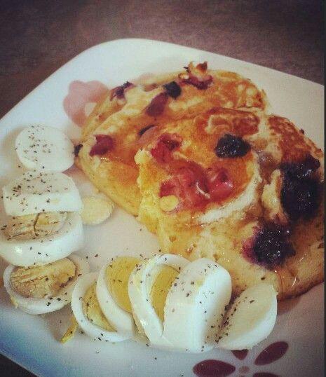 Pancakes with fresh black berries, blueberries, raspberries