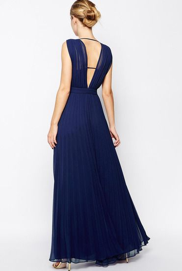 Blue Sleeveless V Neck Pleated Maxi Dress pictures