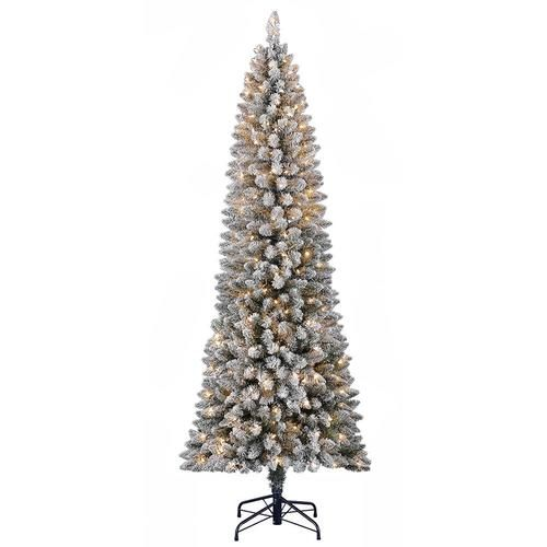 Holiday Living 7 Ft Pine Pre Lit Slim Flocked Artificial Christmas Tree With 300 Constant White Clear Incandescent Lights Lowes Com Artificial Christmas Tree Lowes Christmas Trees Christmas Tree Lighting Pre lit slim christmas tree