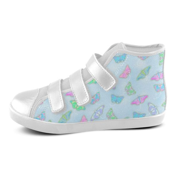 Pastel Color Butterfly Pattern by ArtformDesigns Velcro High Top Canvas Kid's #sneakers with FREE shipping.