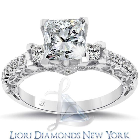 2.48 Carat F-I1 Three Stone Princess Cut Diamond Engagement Ring 18k White Gold  lioridiamonds.com