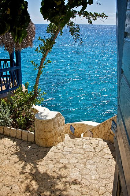 Stairs to the sea, Negril, Jamaica a must vacation spot.