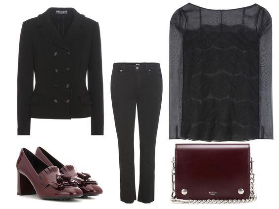 Die Seiden-Spitzen-Bluse von Oscar de la Renta wirkt durch die Jeans von Paige nicht zu fein. Besonders schön für den Herbst finde ich die Clifton von Mulberry sowie die Loafer-Pumps von Tod´s in Burgunder. Der klassische Blazer von Dolce