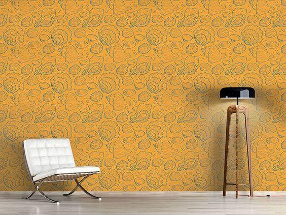 Design #Tapete Meeresmuscheln Gold