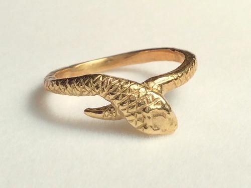 golden snake ring Stephany Hitchcock Designs bronze snake jewelry