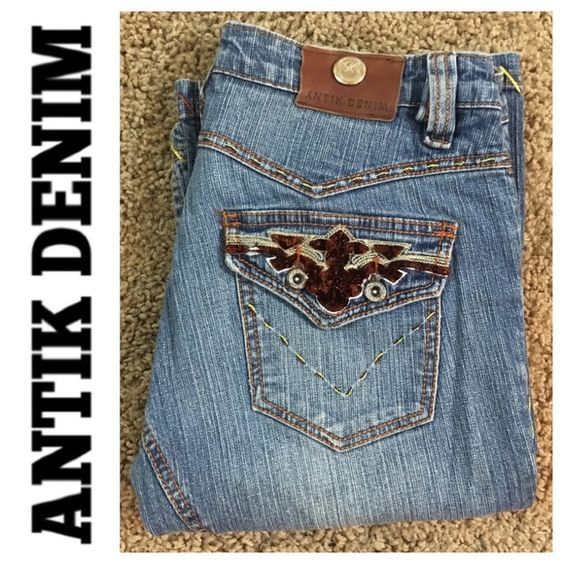 """Antik Denim large stitch jean size 28 Antik Denim large stitch jean size 28 inseam 30"""" and rise 8"""". Normal user wear and fade. Slight wear on hems. No tears holes or stains. Overall in good used condition Antik Demin USA Jeans Flare & Wide Leg"""
