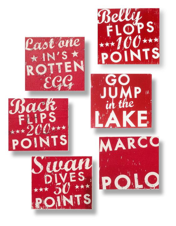 Set of 6 summer LAKE signs in any color- 7 x  7.5 by GoJumpInTheLake on Etsy https://www.etsy.com/listing/183447130/set-of-6-summer-lake-signs-in-any-color