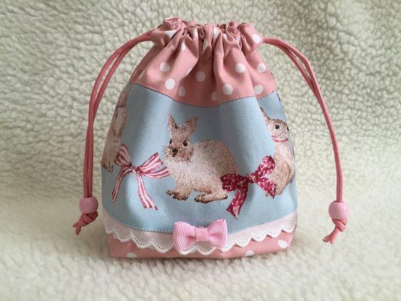 コップ袋 うさぎ&リボン - Cynthia シンシア 入園入学グッズ ハンドメイドオーダー