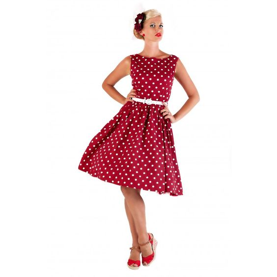 Audrey&39 Red Polka Dot Swing Dress  Day dresses Nice and Vintage