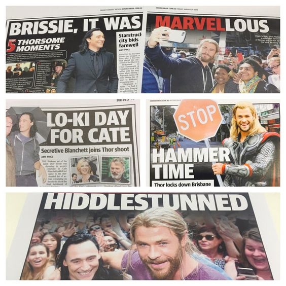 """""""Didn't get to the @thorofficial set like @amyprice21  but I backed her up with @Marvel-lous #Thor pun headlines""""  https://twitter.com/bazmcalister/status/768784124467224576"""