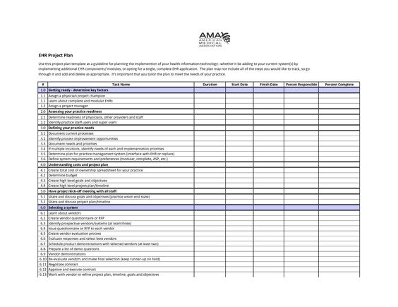 sample project plan template EHR Project Plan Template Self - free project planner template
