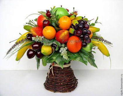 Интерьерная композиция с фруктами, искусственные фрукты - фруктовая композиция