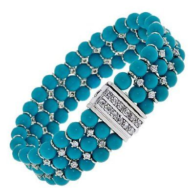 Turquoise Beads Trendy C.Z. Diamonds Bracelets: Jewelry: Amazon.com
