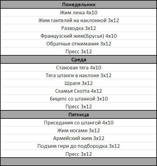 Программа для тренировок в фитнес клубе для мужчин клубы москвы в которых можно потрахаться