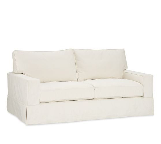 "This is our sofa: PB Comfort Square Slipcovered Grand Sofa: 87""w x 41""d x 37""h. Oatmeal color."