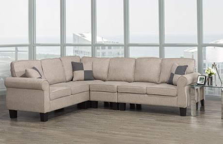 Brassex Inc Victoria Sectional With Adj Armless Chair Beige Beige In 2020 Armless Chair Home Decor Furniture