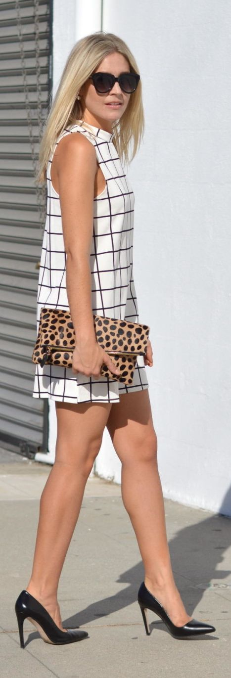 Polka Dot And Sailor Stripes Windowpane Shift Dress Fall Inspo: