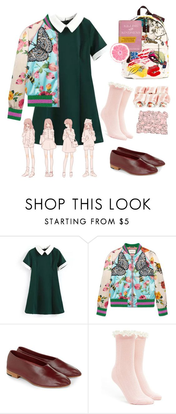 """""""MOSQUITOLAND"""" by nallienadster ❤ liked on Polyvore featuring Gucci, Martiniano, Forever 21 and Marc Jacobs"""