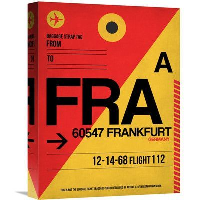 "Naxart 'FRA Frankfurt Luggage Tag 2' Graphic Art on Wrapped Canvas Size: 16"" H x 12"" W x 1.5"" D"