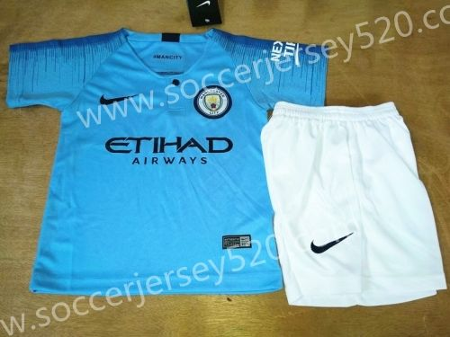 2018 19 Manchester City Home Bule Kid Youth Soccer Uniform