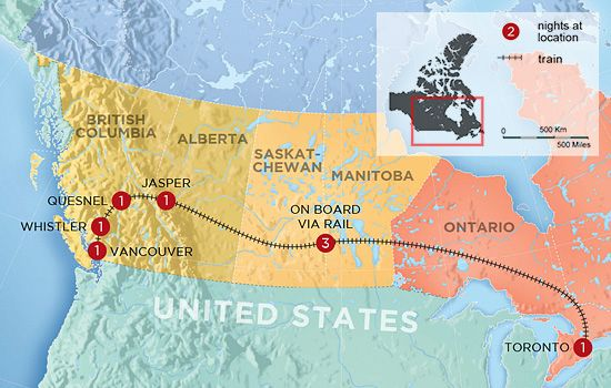Canada Map Toronto Vancouver Overnight Train Trips with Sleeper Accommodations (Pictures
