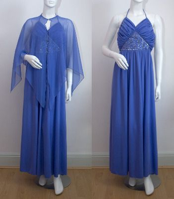Lilac Ruched Evening Dress with Cape, Medium c.1970s @CatwalkCreative