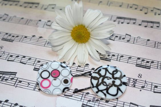 Black and White Button Bobby Pins by DioncePoet2000 on Etsy