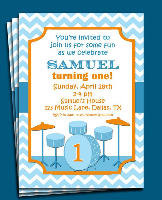 Drums Invitation Printable  Musical Birthday by ThatPartyChick, $15.00