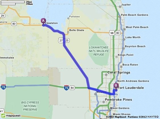 Driving Directions from Clewiston Florida to Fort Lauderdale – Mapquest Driving Directions