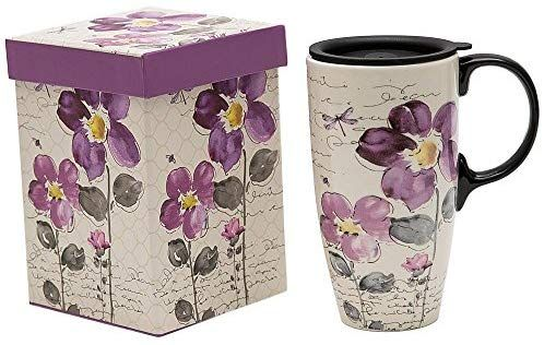 Amazon Com Topadorn Tall Ceramic Travel Mug 17 Oz Coffee Cups Sealed Lid With Gift Box Purple Flower Kitchen Dining In 2020 Mugs