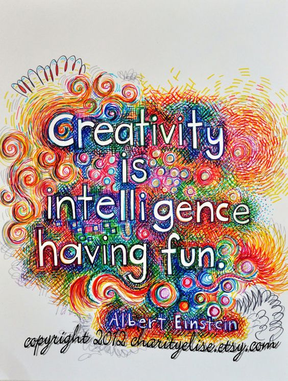 "Brightly Colored Art Print- ""Creativity is Intelligence Having Fun"" - Albert Einstein:"