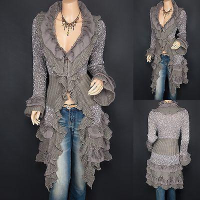 Trendy Gray Ruffles Lace Tiered Hem Button Up Cardigan Long Sweater Jacket:
