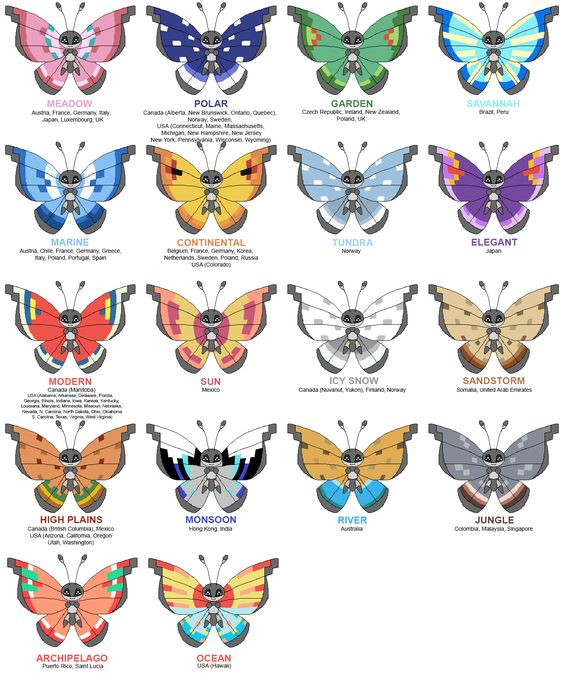 Pokemon XY Vivillon Evolution Guide - Its wing pattern varies per region If your evolution doesnt happen to match up Er I dont know what to tell you I didnt make this chart p