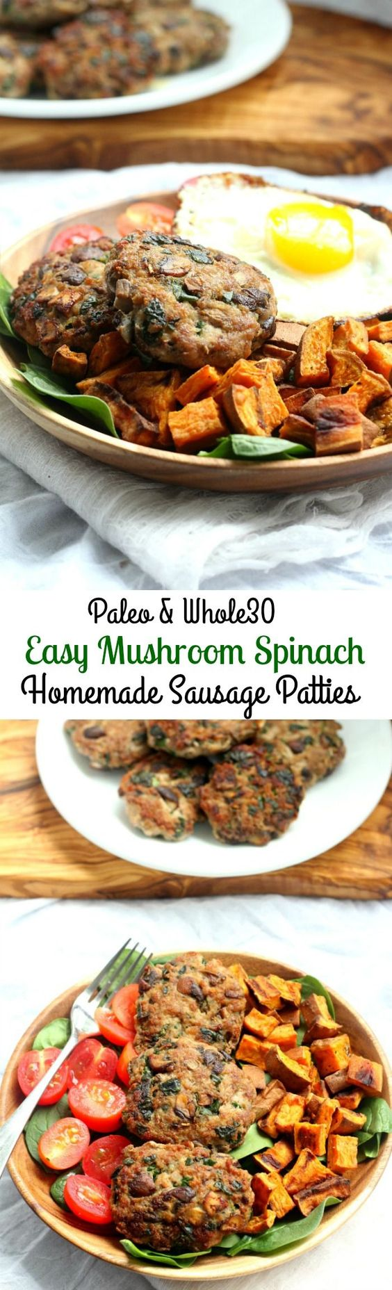 Mushroom Spinach Easy Homemade Pork Sausage Patties that are Paleo and ...