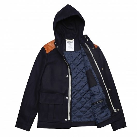 Hooded jacket made of heavy weight wool from Italy. Featuring leather shoulder patches and chambray lining. Made in Europe. - Norse Projects