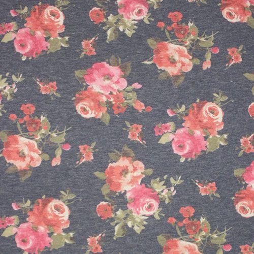 Vintage Pink Roses On Denim Blue Cotton Jersey Spandex Blend Knit Fabric Super Soft Vintage Look Cott Vintage Pink Fabric Stores Online Indie Sewing Patterns