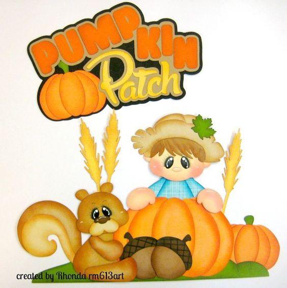 Autumn Fall Pumpkin  boy  paper piecing premade scrapbook page Rhonda rm613art