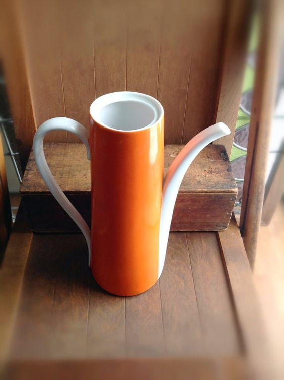 Retro Orange Ceramic Tall Pitcher by ReDigIt on Etsy