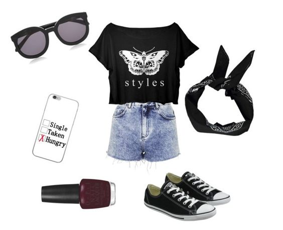 """Casual 2"" by tylaajaade ❤ liked on Polyvore featuring Topshop, Converse, Karen Walker, Boohoo and OPI"