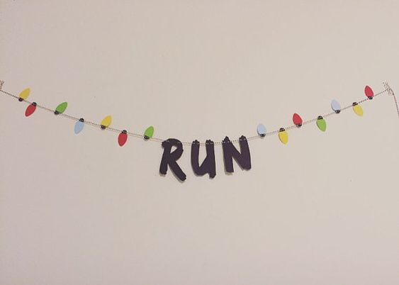 "Stranger Things ""RUN"" / Word Garland Banner / Christmas Lights / Stranger Things Quote / Netflix Original:"
