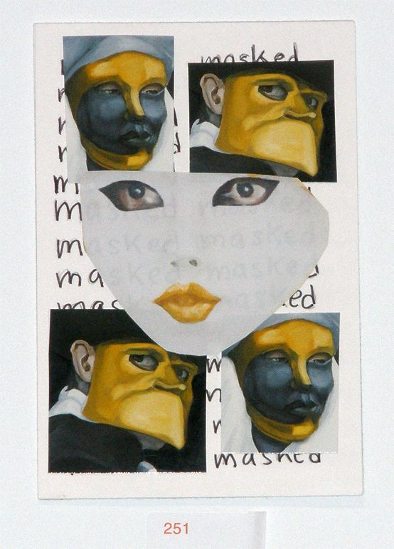 My Calling Card by Rossella BLUE Mocerino.  Postcard exhibited and sold at Postcards from the Edge, a benefit for VISUAL AIDS. http://www.visualaids.org/projects/detail/postcards#.UuaaVbROmUm #nycart #postcards #masks