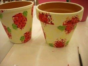 Easy Garden Crafts | Geranium Painted Garden Pots 300x225 How to Paint: Techniques ...