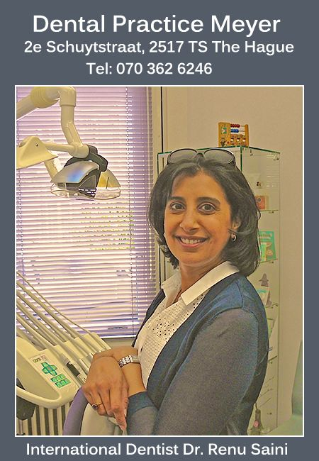 Renu Saini is a busy American expat in Holland. She's a wife, a mom AND a dentist! Visit her at DENTAL PRACTICE MEYER in The Hague.  Additional info here https://www.angloinfo.com/south-holland/directory/listing/south-holland-international-dentist-in-the-hague-12703